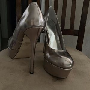 Silver Platform Stilettos size 7